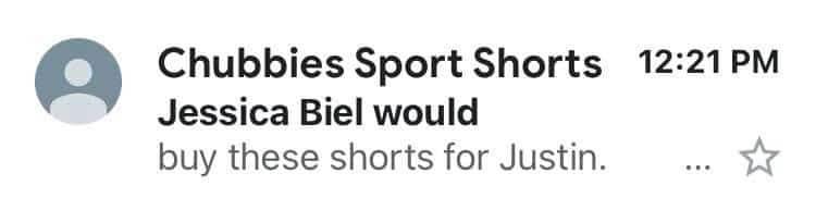 Chubbies email subject line example
