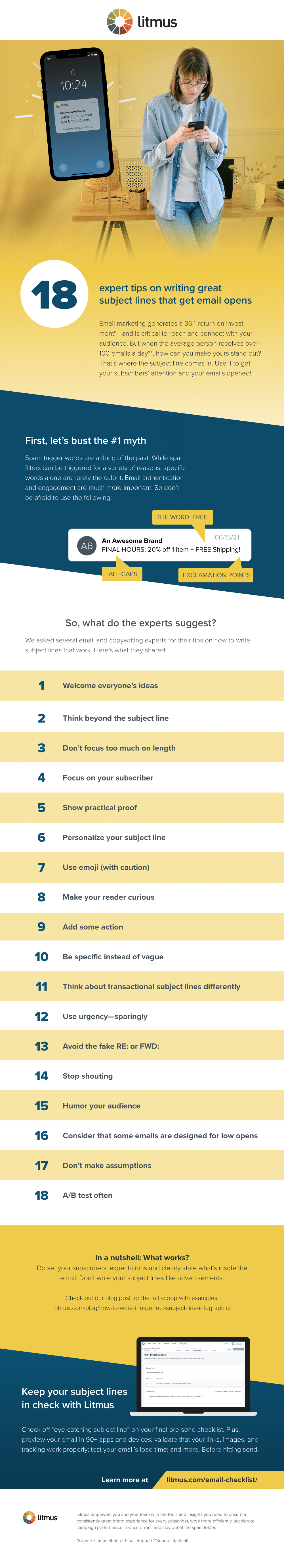 18 email subject line tips infographic