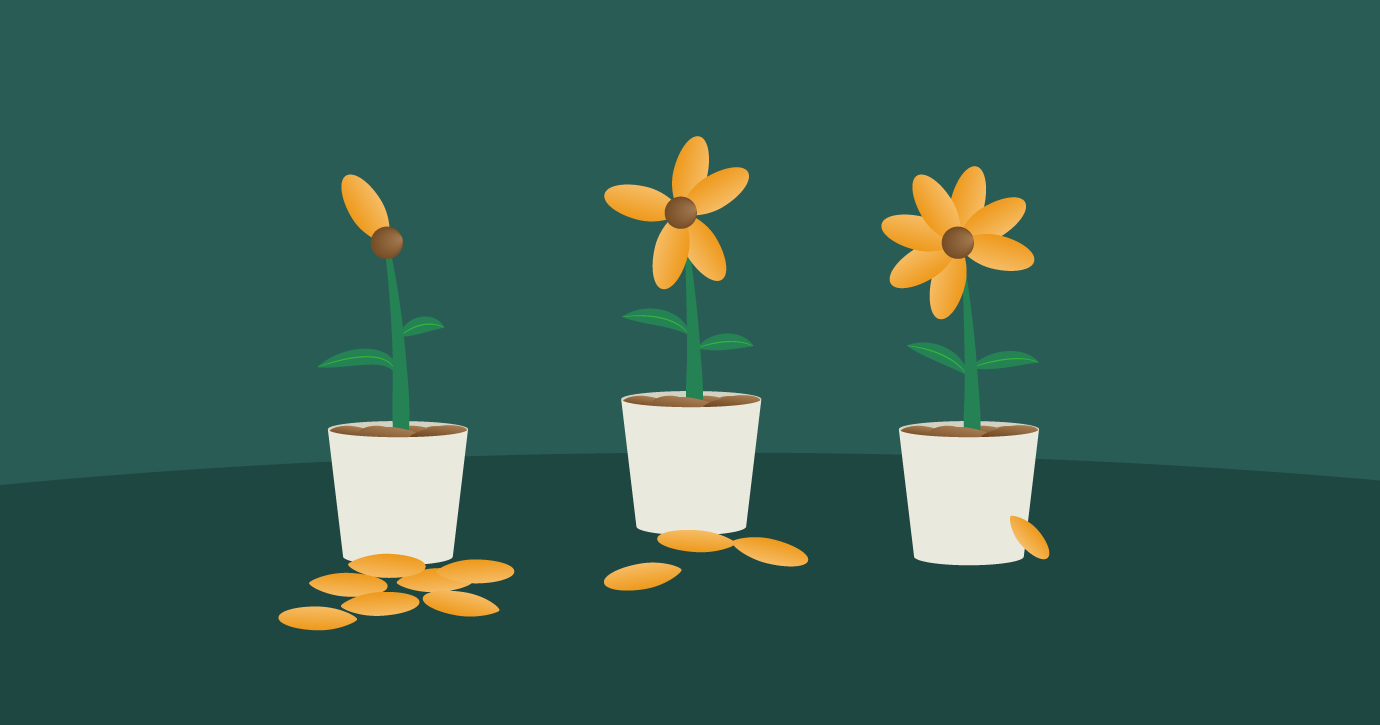 flowers wilting to represent different levels of inactive subscribers