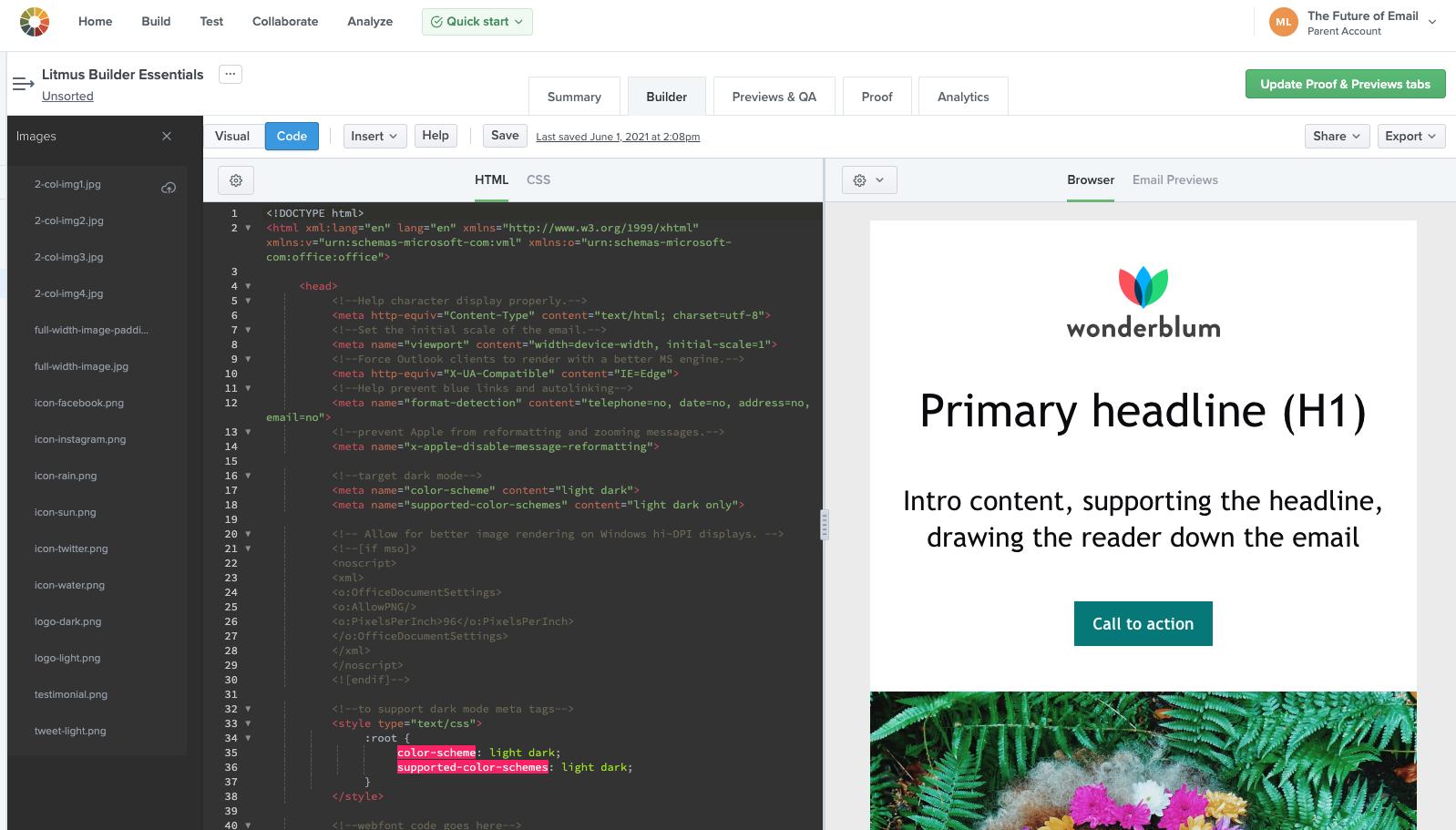 Code Editor in Litmus Builder