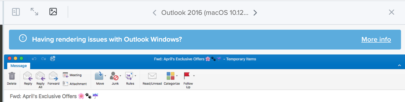 rendering issues notification bar in Outlook 2016 email preview in Litmus Builder