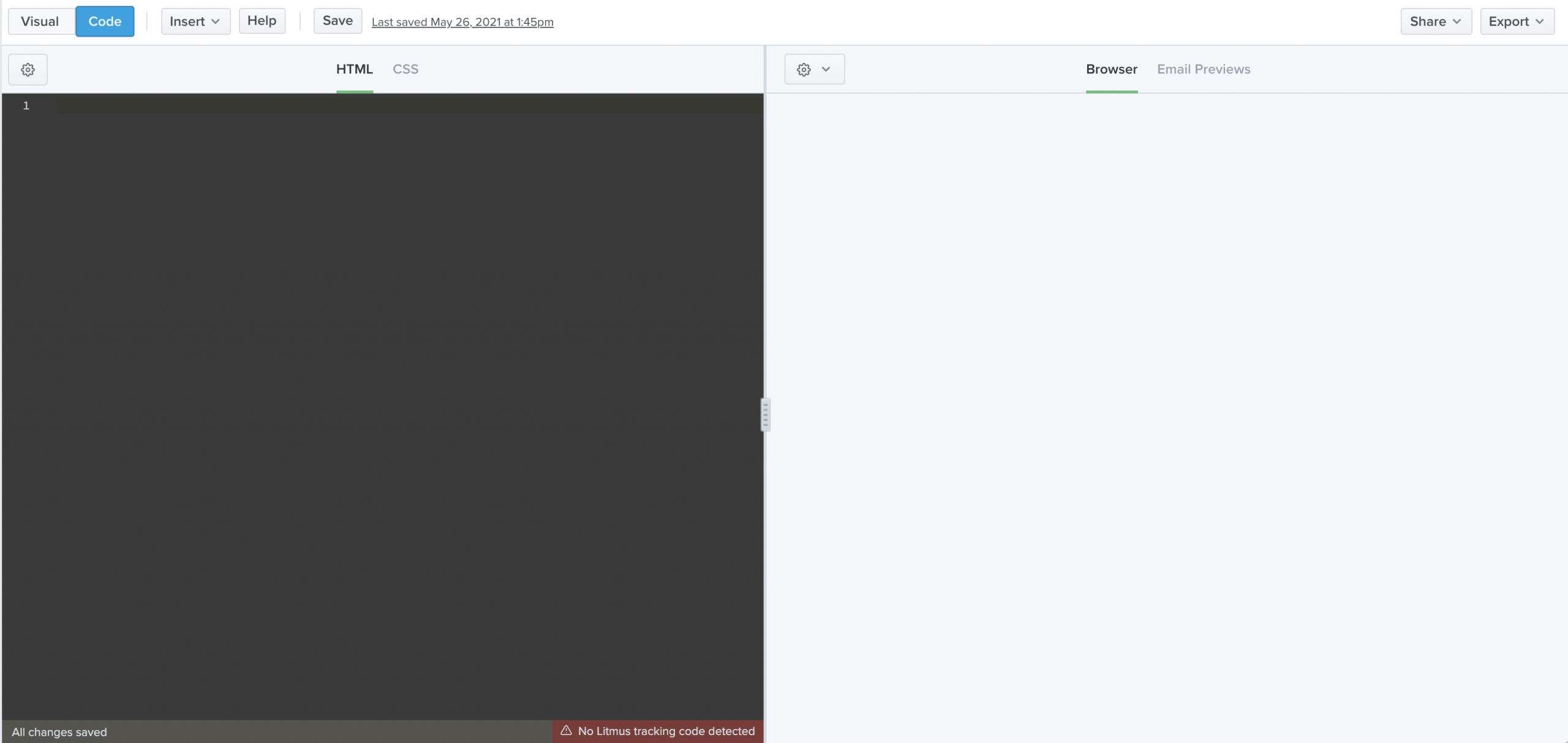 The code editor and preview pane in Builder