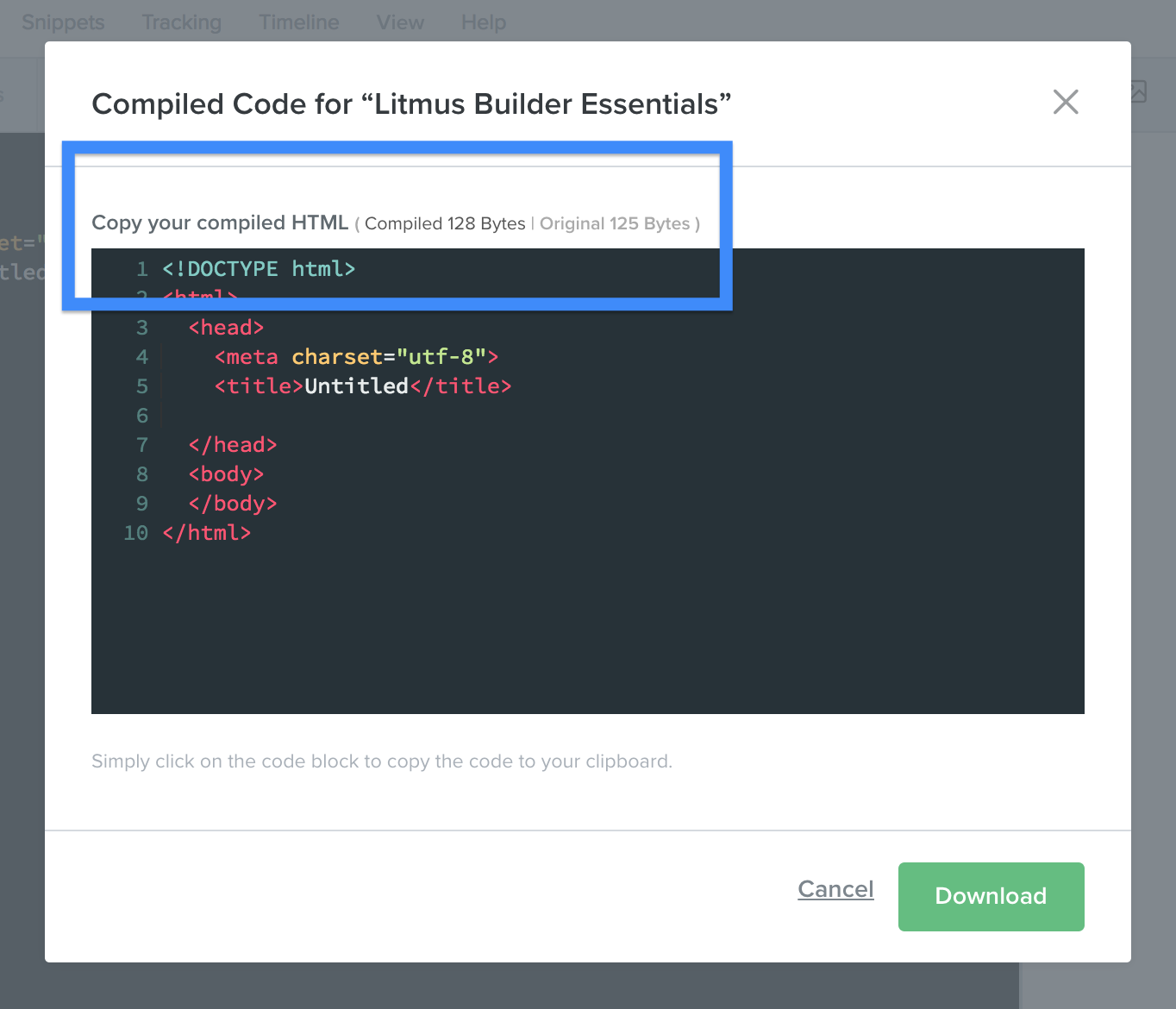file size info when compiling HTML in Litmus Builder