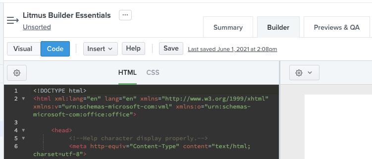 Litmus Builder code editor menu on the left side