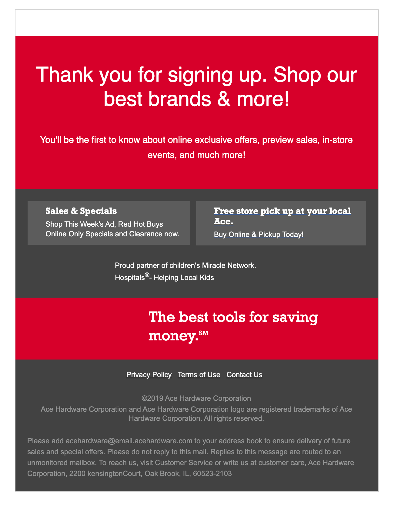 Ace Hardware email with images off