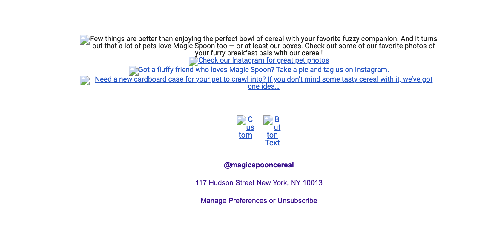 Magic Spoon email with images off