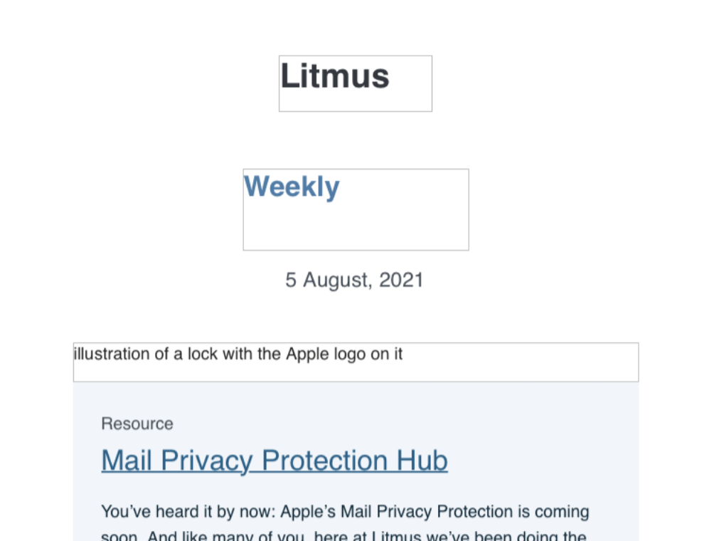 Litmus Weekly with images off and styled ALT text