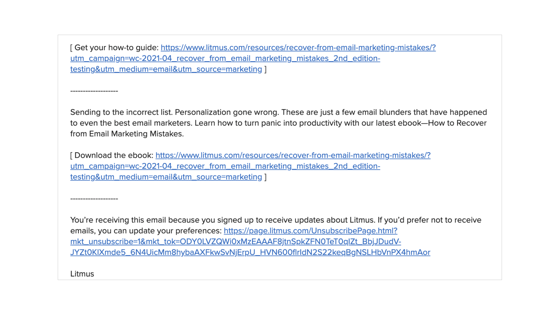 plain text email example of minimal links