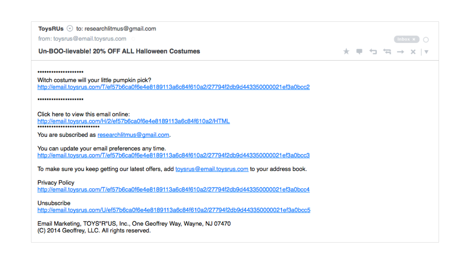 plain text email example of a single CTA and view online link