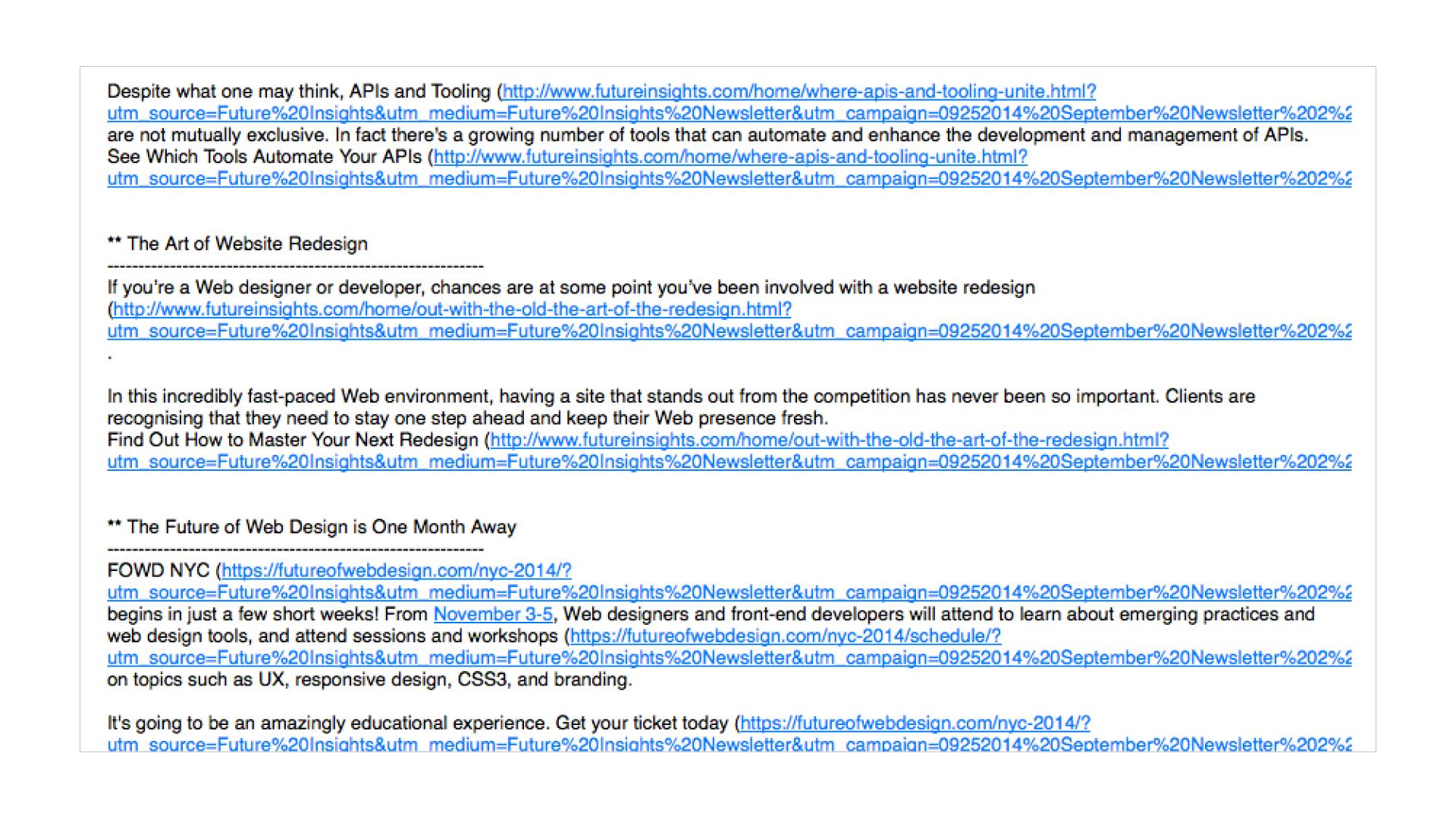 plain text email example of clear headlines