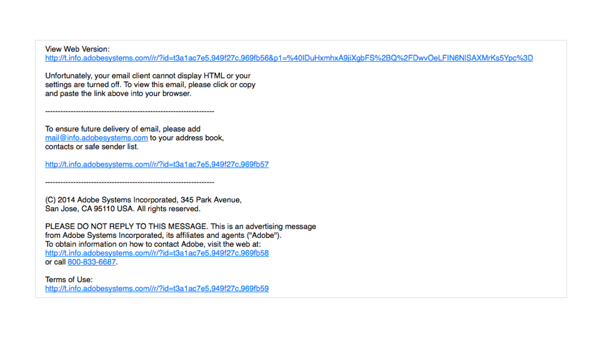 example of plain text email with ragged lines