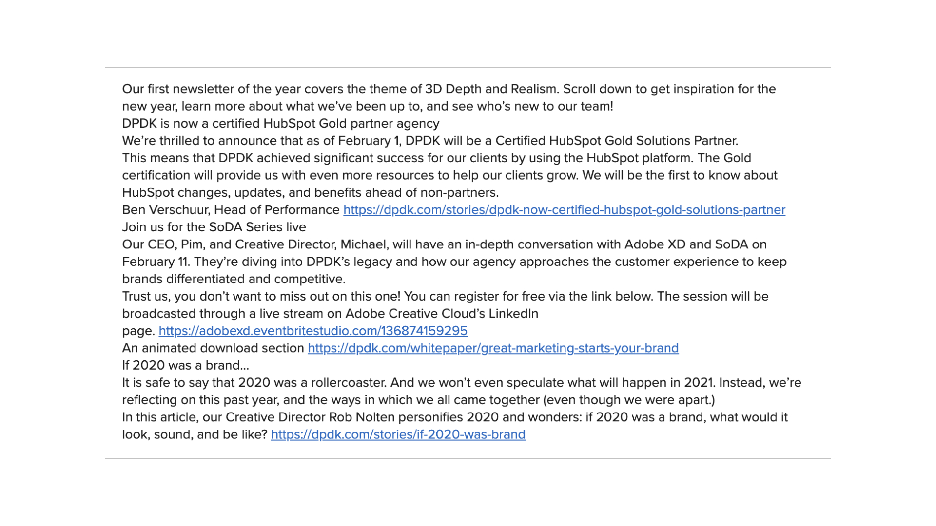 email example of crowded plain text