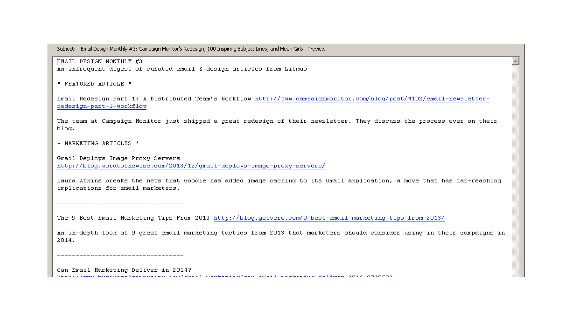 plain text email example of good whitespace