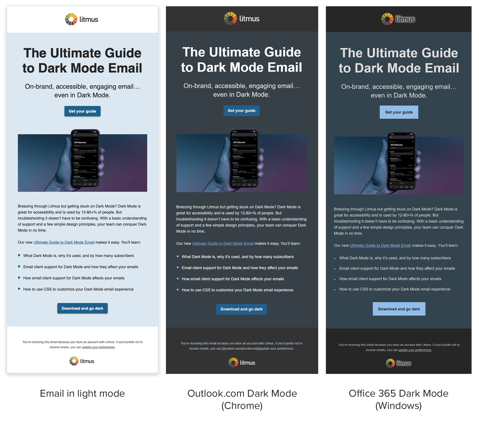 Litmus HTML email examples of background colors in light mode vs dark mode