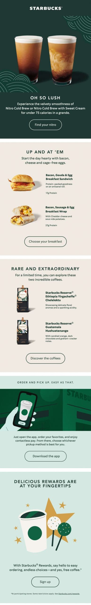 starbucks email example of background colors