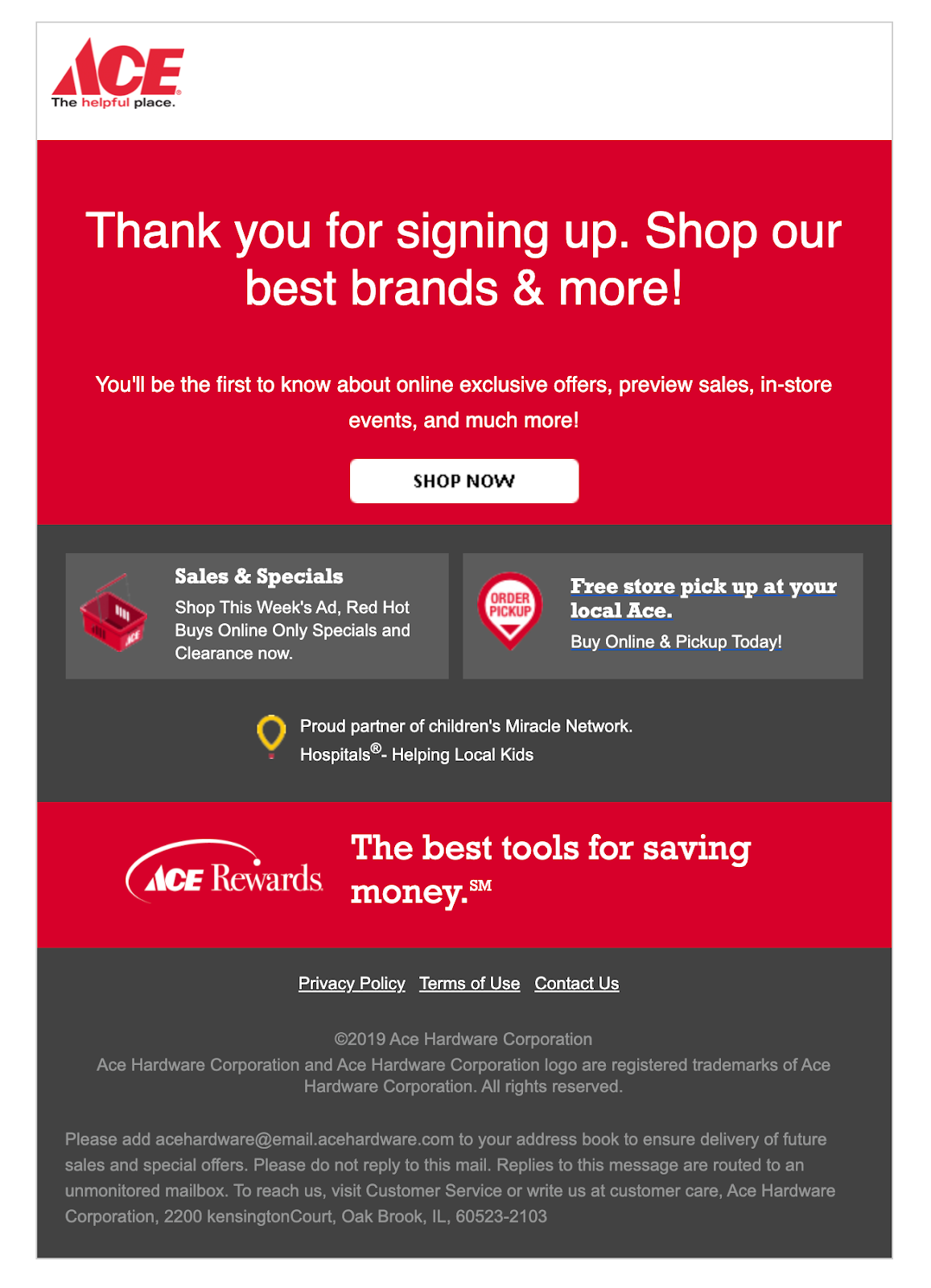Ace Hardware email with fallback font