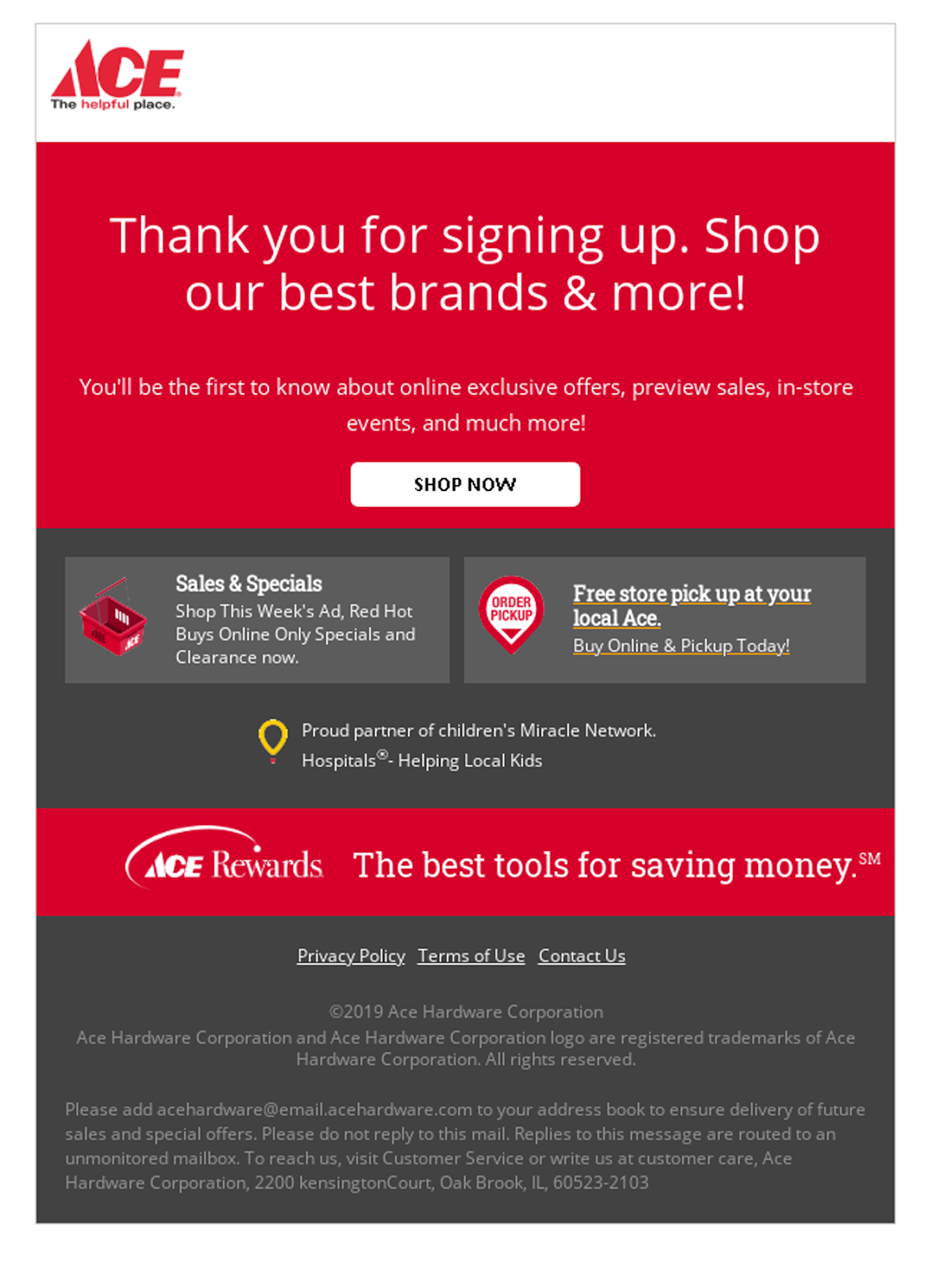 Ace Hardware email with web font