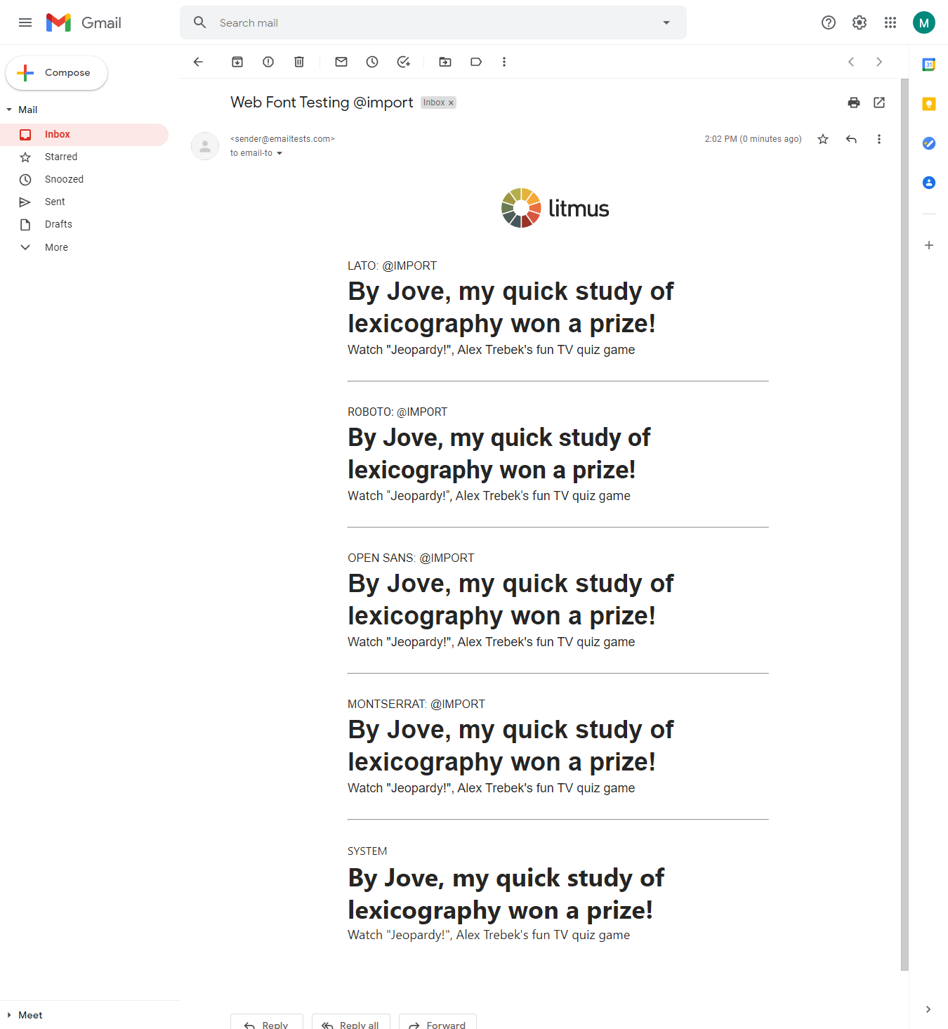 testing google fonts in email on gmail
