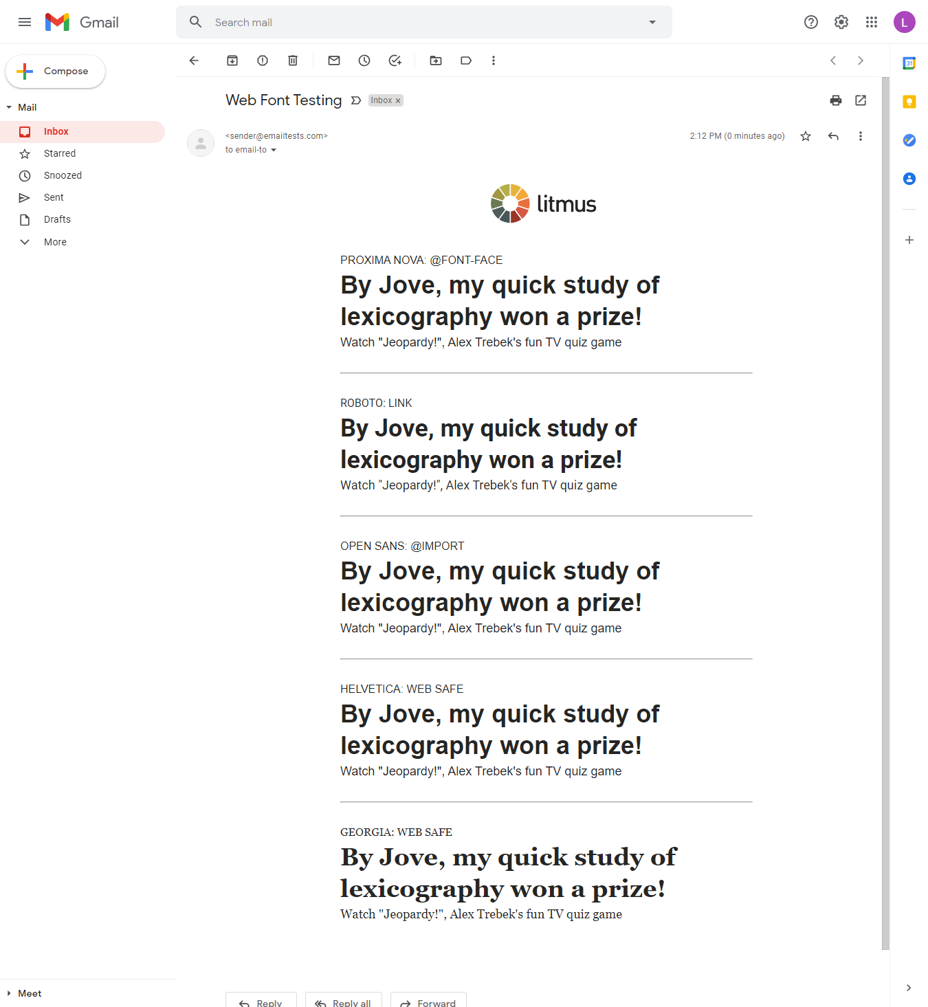 testing web font embed methods in gmail