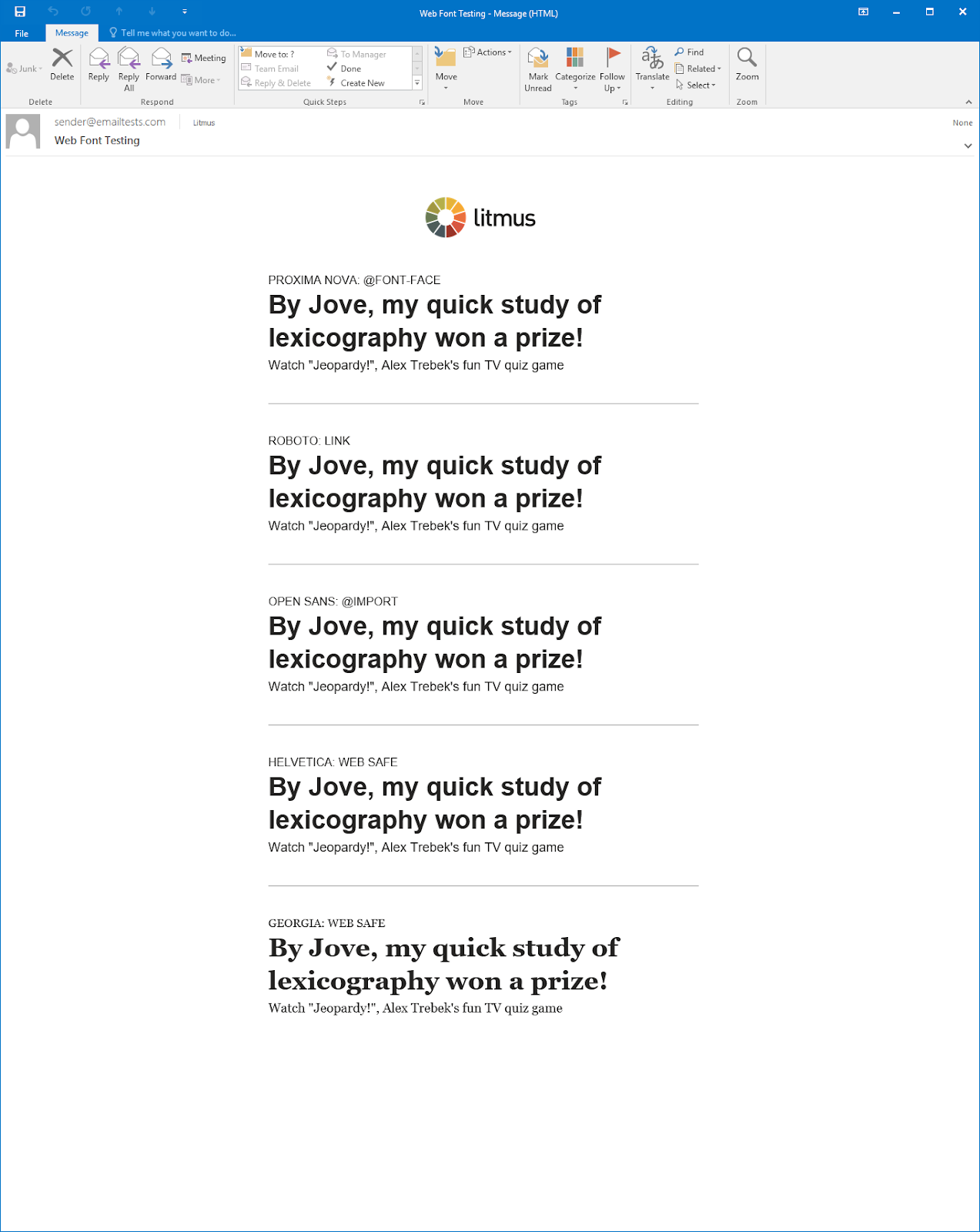 testing web fonts in email for older versions of outlook with mso conditionals