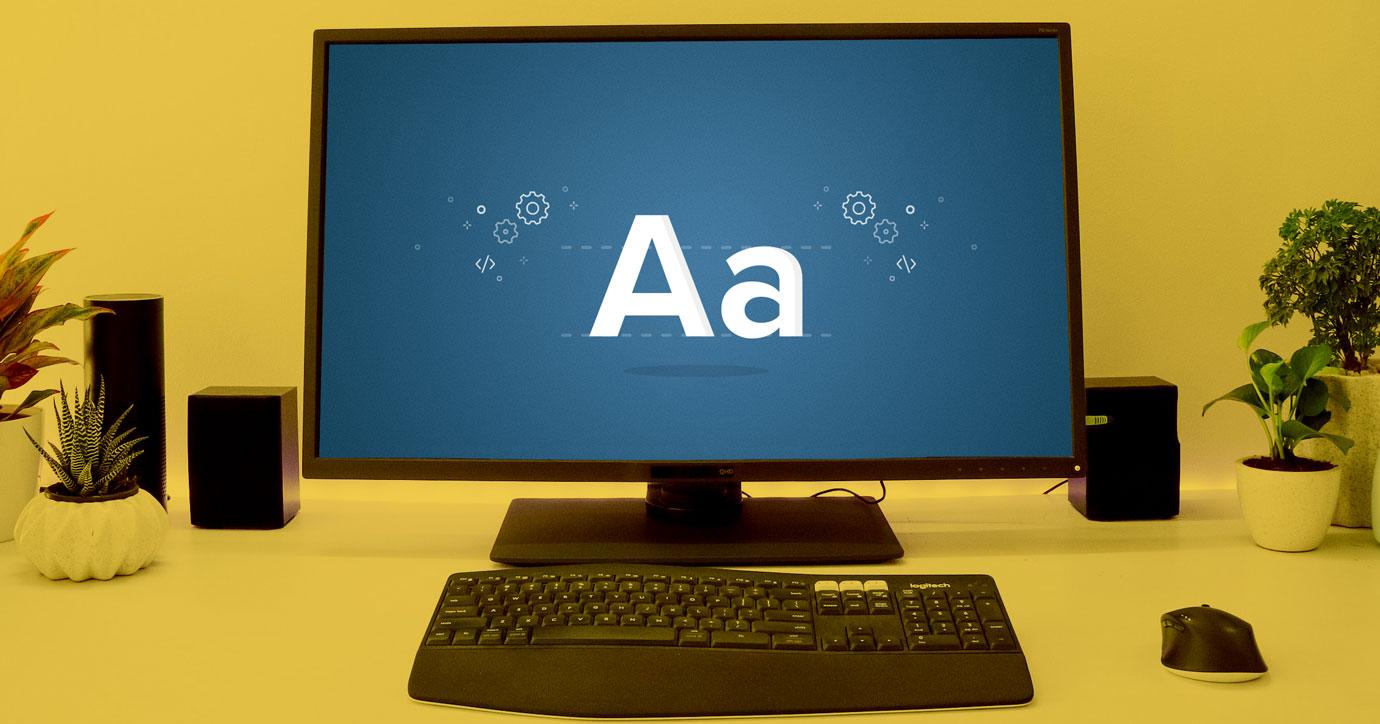 web font on a computer screen