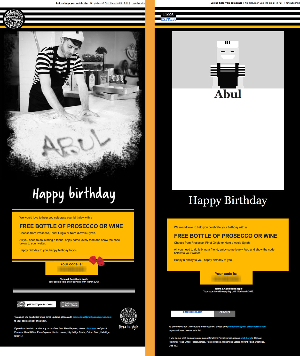 email pixel art in Pizza Express email