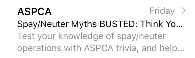ASPCA subject line mistake