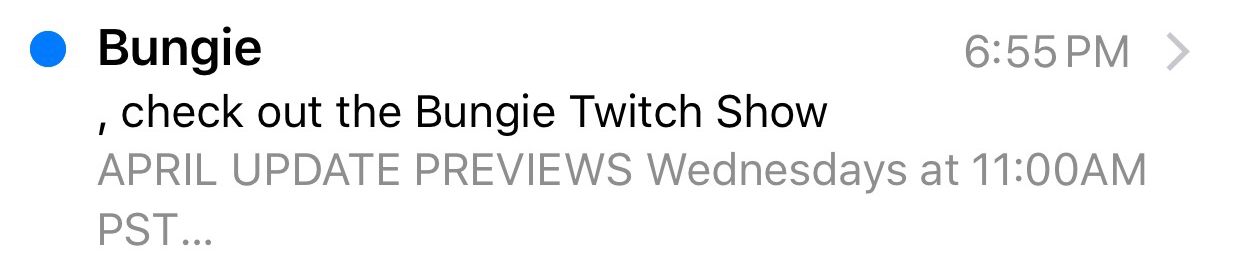 Bungie subject line mistake