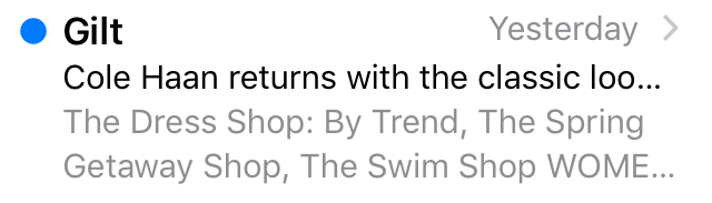 Gilt subject line mistake