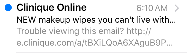 Clinique subject line mistake