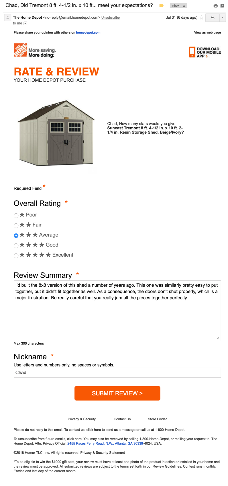 Interactive Home Depot product review request email