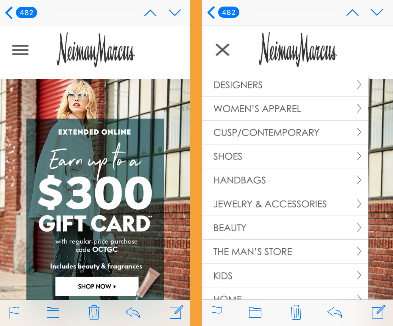 interactive email from Neiman Marcus