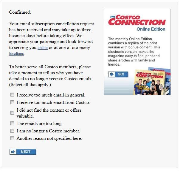 Costco Wholesale's unsubscribe survey