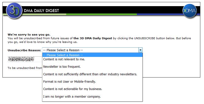 DMA's unsubscribe survey