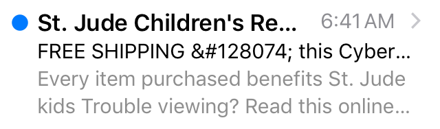 St. Jude subject line mistake