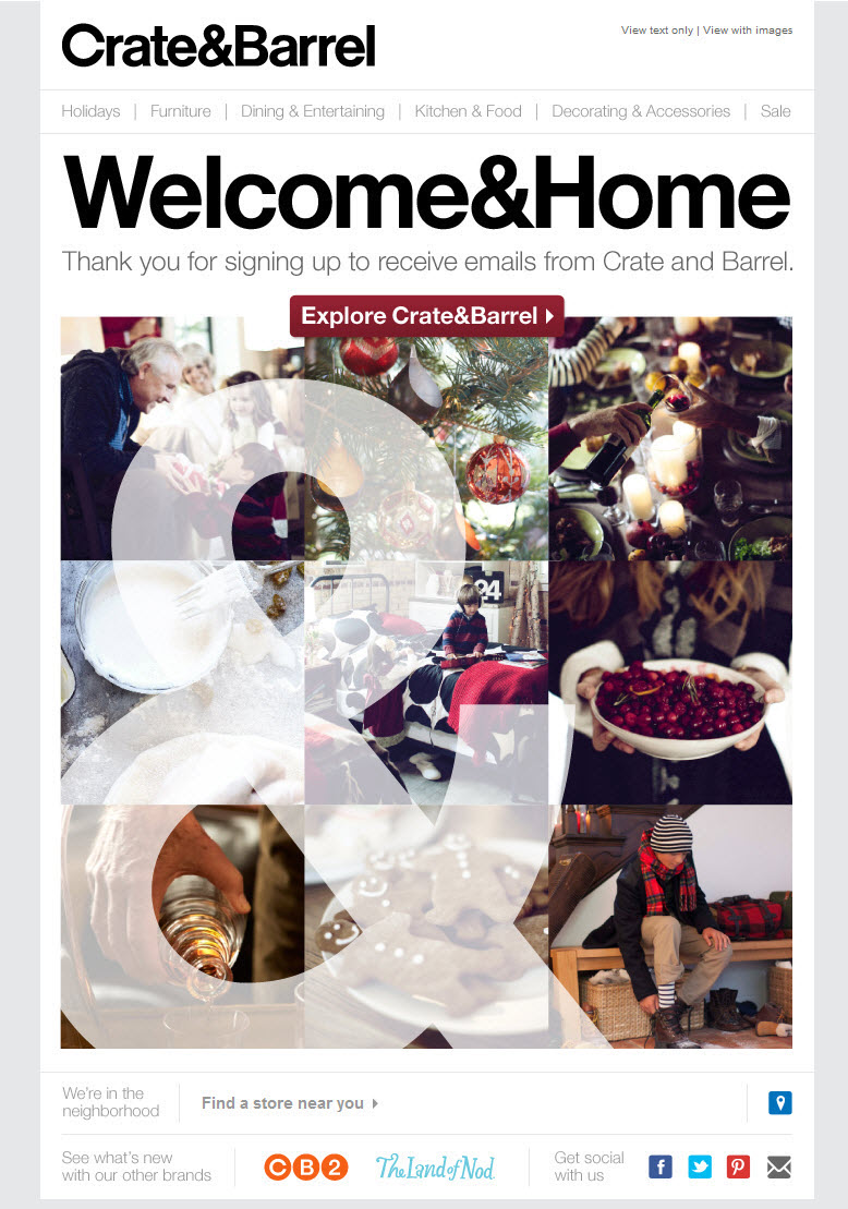 Crate & Barrel welcome email with seasonal imagery