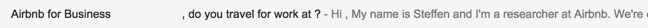 Airbnb subject line mistake