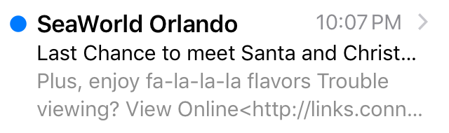 SeaWorld subject line mistake