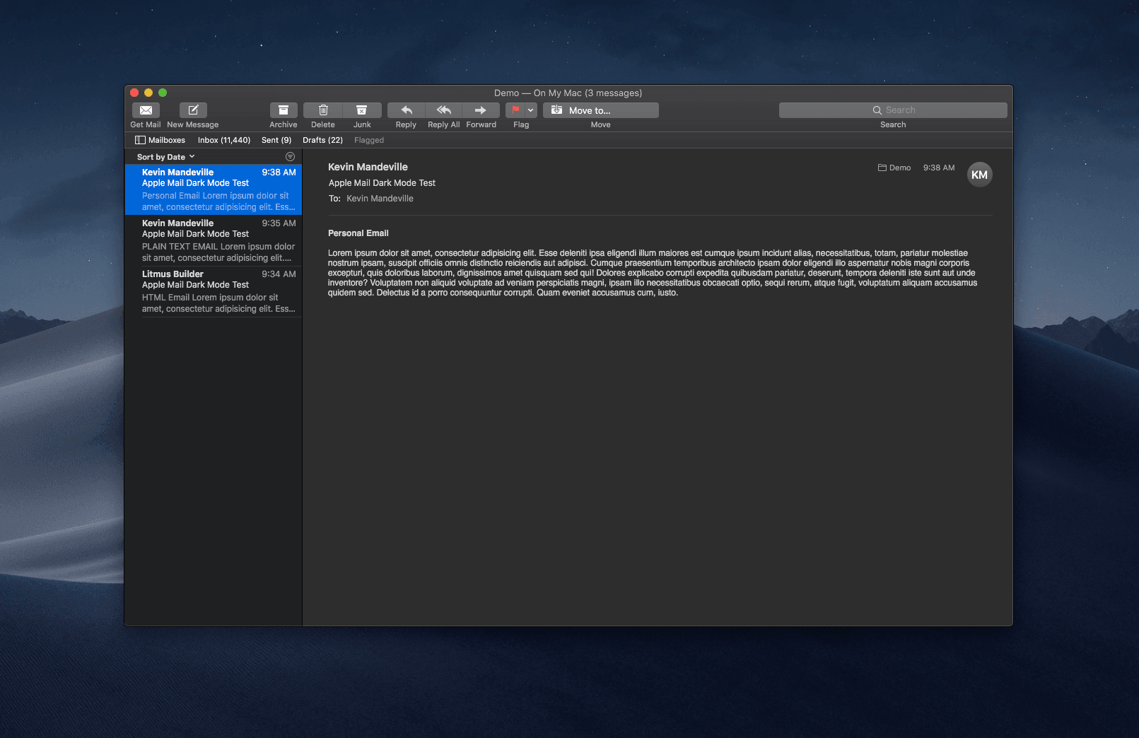 Apple Mail in Dark Mode