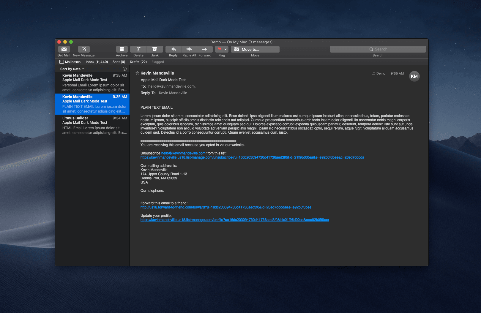 A text-only email in Dark Mode
