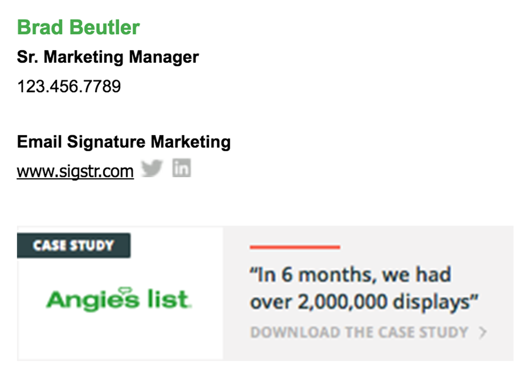 Email signatures case study - example 2