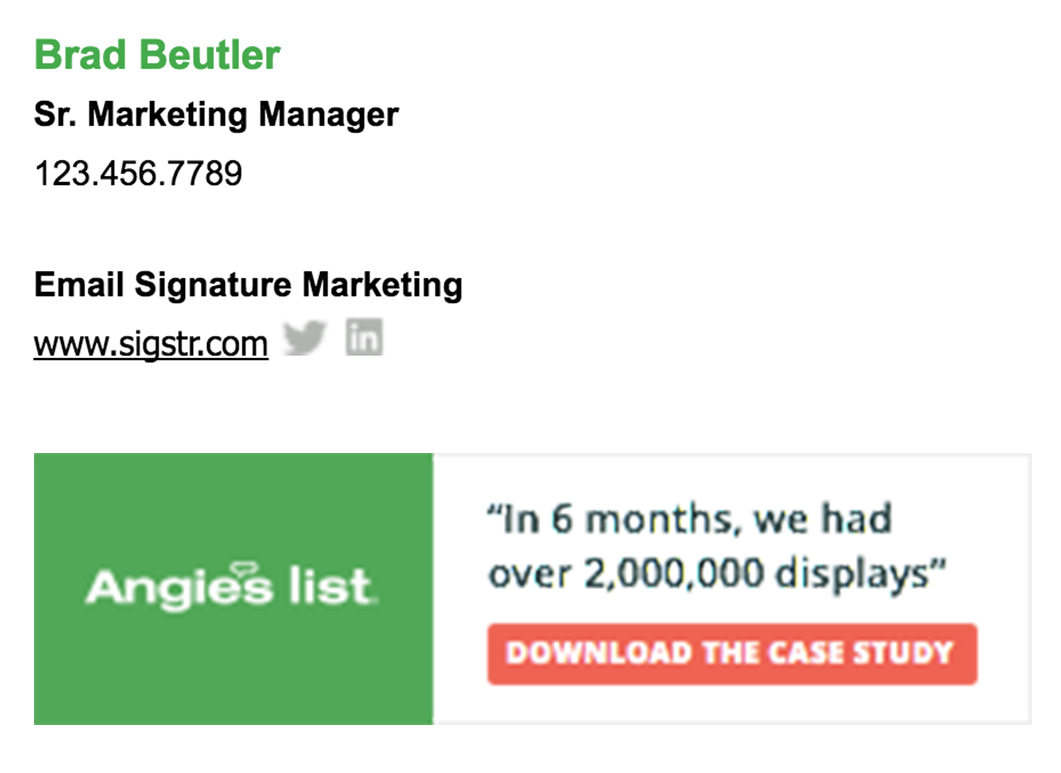Email signatures case study - example 1