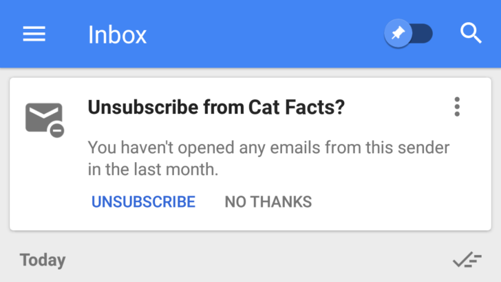 Unsubscribe Suggestions in Inbox by Gmail