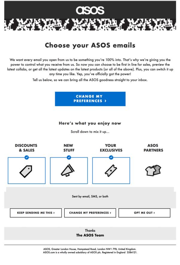 ASOS GDPR re-permission campaign