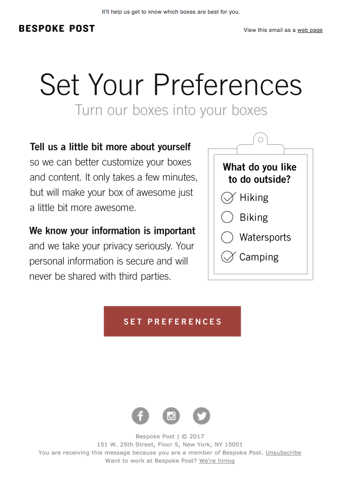 Bespoke Post preferences email