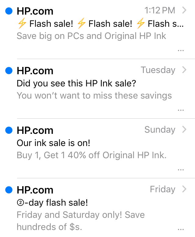 HP emails using the preview text hack