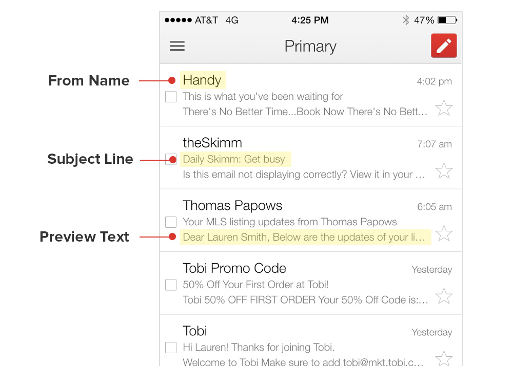 Feature a glimpse of what users will be getting in the preview of the email subject line