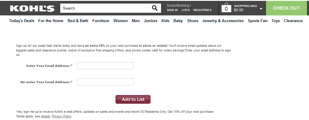 Kohl's uses double entry confirmation