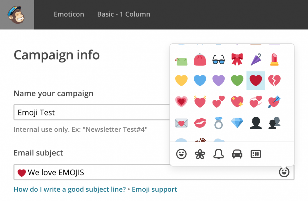 Emoji support in mailchimp