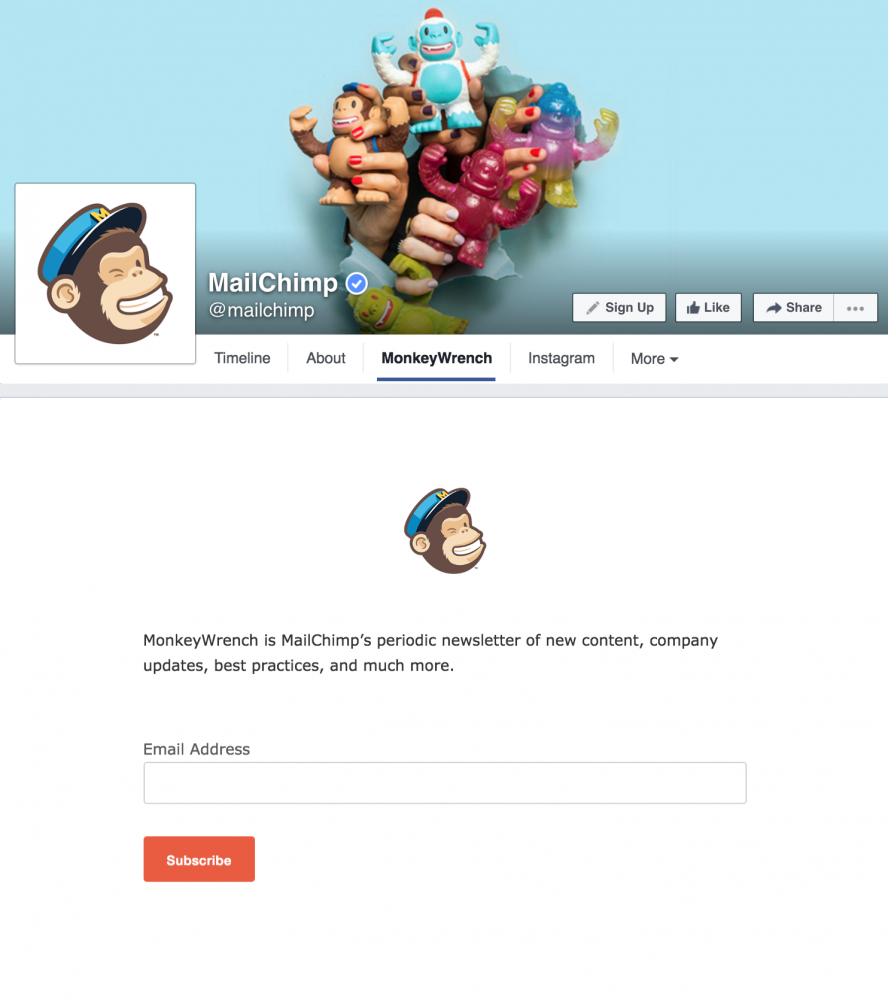 MailChimp's newsletter signup tab on Facebook